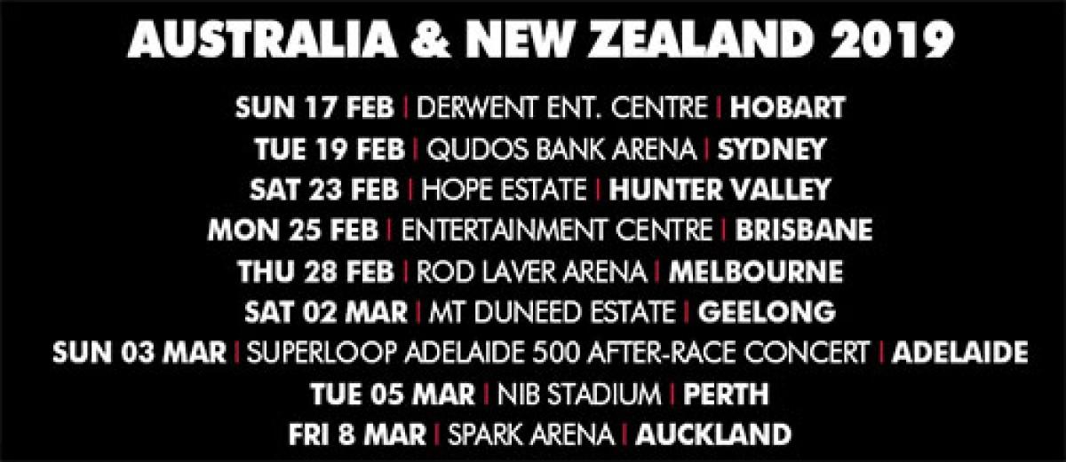 Concerts Australie & Nouvelle Zélande en 2019